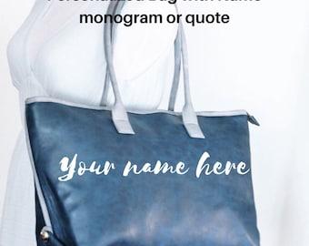Monogram Tote Bag, Monogrammed Purses, Vegan Leather Tote Bag, Personalized Tote, Monogrammed Laptop 17 Bag, Large Blue Tote, gift for her