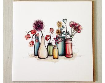 Flowers in vases card