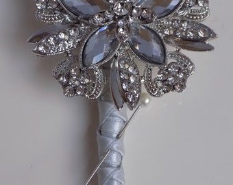 Silver Brooch buttonhole. corsage. Grooms button hole. Boutonnière. Mother of the bride Corsage. Wedding accessory.