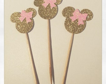 25 Gold Glitter Minnie Mouse Silhouette with Light Baby Pink Glitter Cupcake Toppers or Appetizer Picks for Birthday, Baby, Wedding, Shower