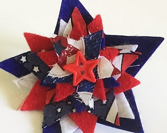 Red, White and Blue Patriotic Star Accessory for Dog or Cat Collar