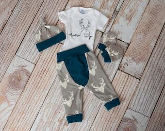 Newborn Coming Home Baby Deer Antlers/Horns Bodysuit, Hat, Scratch Mittens Set with Grey and Navy+ Deer Heartbeat Bodysuit