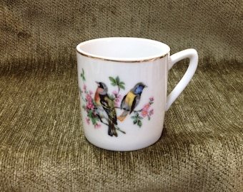 Porcelain Demitasse with Bird on Side, Gold Trim, Japanese Porcelain Demitasse,
