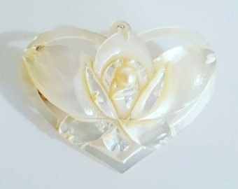 Vintage Carved Mother of Pearl Heart and Flower Brooch