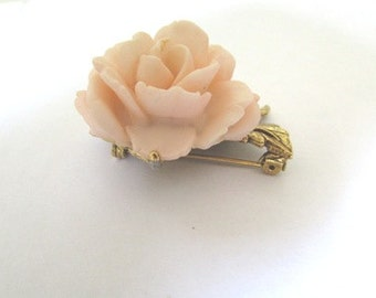 Vintage Rose Brooch pin flower floral pin mid-century style pin pink jewelry