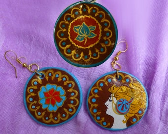 Pendant and earrings inspired by art Nouveau of A. Mucha.