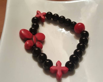 Beautiful Beaded Black and Red Butterfly Braclet