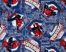 Spiderman fabric.  100% Premium cotton.  Red, blue, white quilting cotton.   Superhero, Comic heros, novel, character, cartoon, little boy