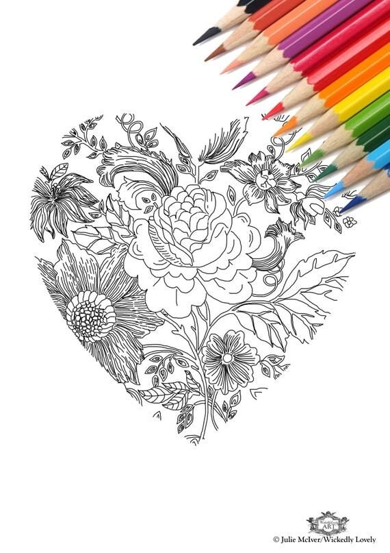 Herz mit Blumen DIY drucken zu Hause Digital Download Färbung