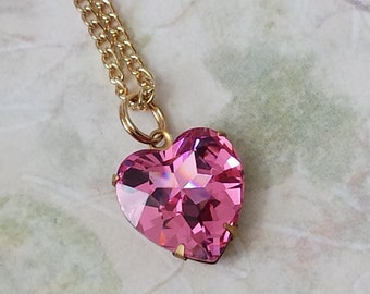 Pink Heart Necklace, Teen Girls Necklace, Teen Girls Gifts, Pink Crystal Hearts, Pink Valentine Heart Necklace, Pink Necklace