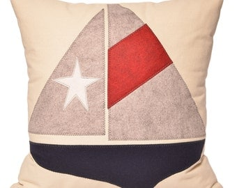 "21"" Sailboat & Star Navy Grey Red White Americana Boat Decorative Pillow, Beach Lake House, Coastal Nautical Home Decor, The Salty Cottage"