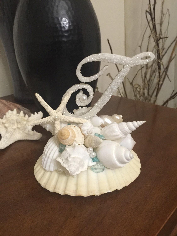 Monogram Wedding Cake Topper Beach Wedding Cake Topper Shell