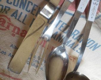 Vintage Serving Utensils, Flint Stainless U.S.A., Harvest Wheat, Set of 4