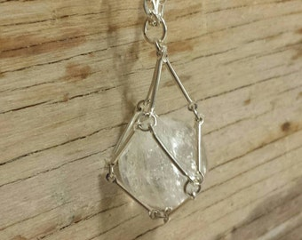Quartz Crystal Ball Cage Necklace