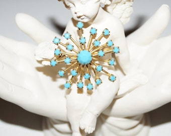 1960's Vintage Brooch Turquoise