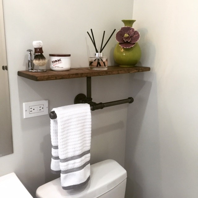 Double Hand Towel Holder With Shelf Rustic Bathroom