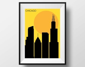 Chicago print, Chicago art, Chicago artwork, Chicago poster, Chicago illustration, Chicago wall art, Chicago original gift, Chicago Illinois