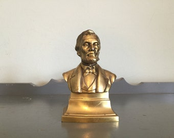 Brass Abraham Lincoln Bust Bookend by PM Craftsman