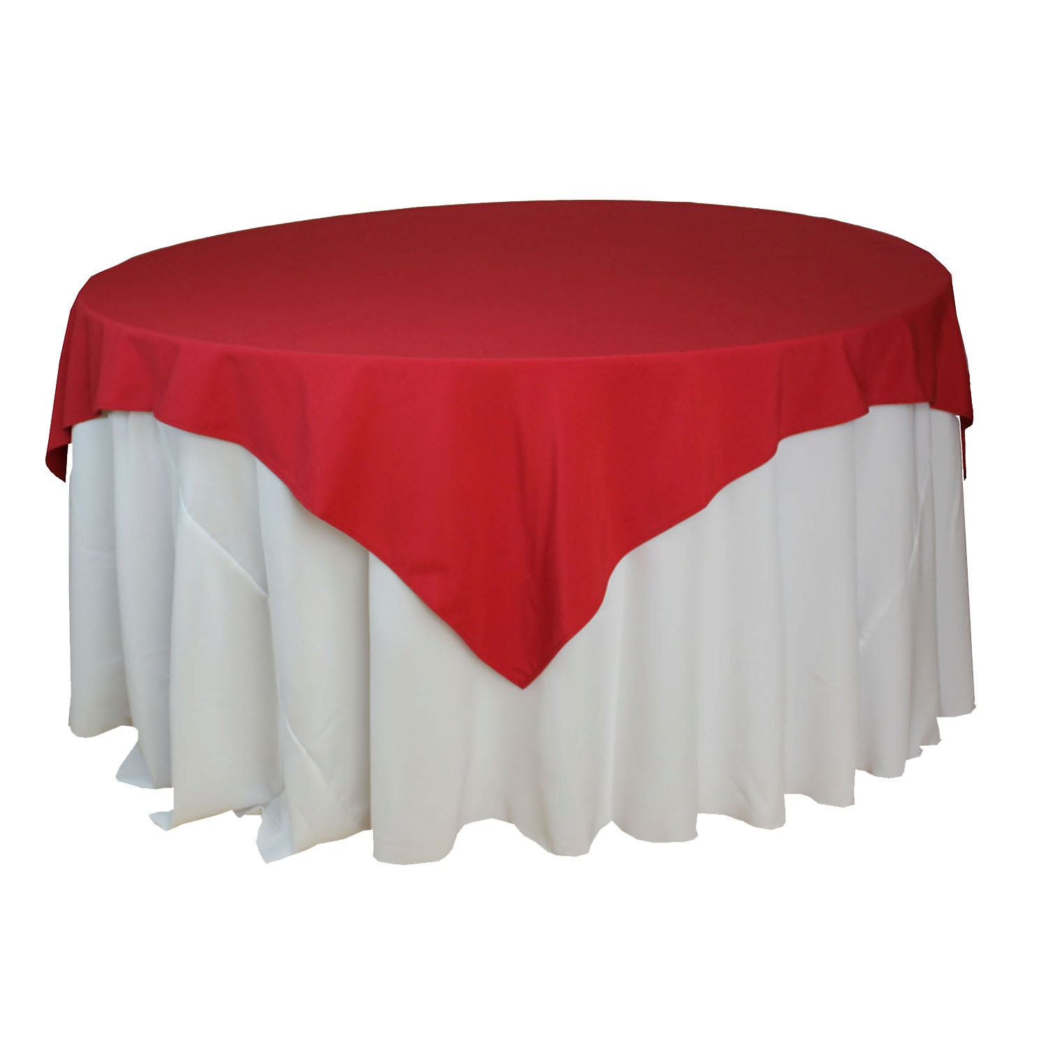 Red table overlays 85 x 85 inches square red tablecloths for 85 inch tablecloths