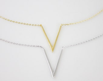 Gold and Silver Chevron Charm Necklace Bridesmaid Gift Bridesmaid Necklace Dainty and Simple Necklace Birthday Gift