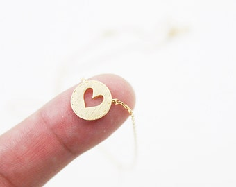 Gold Dot with hollow out heart Necklace Gold Heart Cut out Necklace Bridesmaid Gift Dainty Necklace Simple and Modern Everyday Necklace