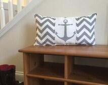 Anchor pillows, nautical pillow, Coastal pillows, gray anchor pillows, beach theme pillows