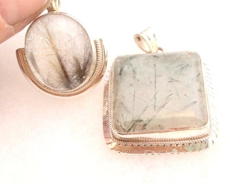 Rutilated or Tourmalated Quartz Pendant. Sterling Silver. Goldish or Coppery.  free US ship