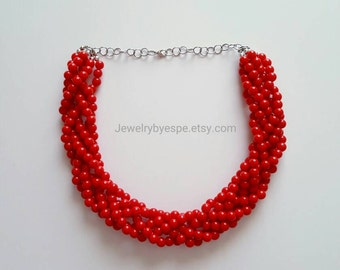 Red Necklace,Statement Necklace, Red Wedding Jewelry, Red Bridesmaid Jewelry,Multi Strand Necklace,Chunky Bib, Choker
