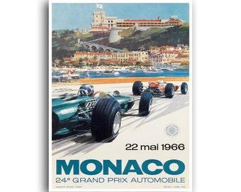 Vintage Car Print Auto Racing Race Car Art Motor Sports Poster (H379)