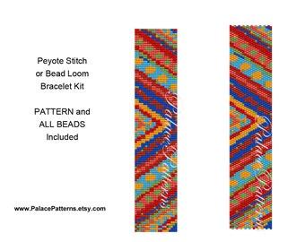Chevron Beaded Bracelet KIT for Bead Loom or Single Peyote Stitch - Chevron4 Loom Kit P28 - Beadweaving Bracelet Kit