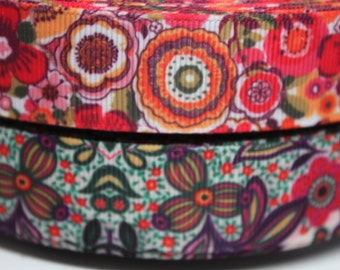 Green / Orange Flower 7/8 Inch Grosgrain Ribbon by the Yard for Hairbows, Scrapbooking, and More!!