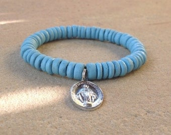 Light Blue Bracelet with Catholic Miraculous Medal, Our Lady, size medium, ready to ship