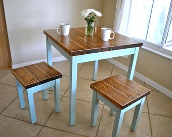 Farmhouse Breakfast Table or Dining Table Set with or without Stools - Farmhouse Table