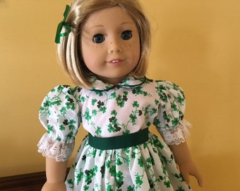 American Girl Doll Clothes Shamrock Dress St. Patrick's Day Irish Green Dress WITH SHOES!