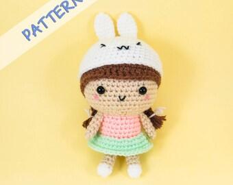 Girl with Bunny Hat Amigurumi Pattern -- amigurumi doll pattern, crochet doll pattern, doll crochet pattern