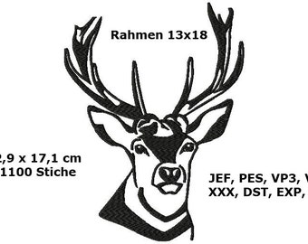 Embroidery file deer head for frame 13 x 18 embroidery file embroidery