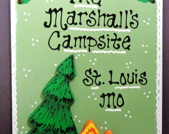 Personalized Name CAMPSITE Sign Camp Camping Camper CITY -  STATE Pine Tree - Campfire Plaque