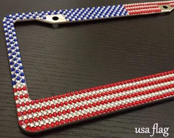 usa american flag diamond bling rhinestone handmade metal license plate frame for any car red white blue