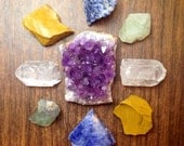 Crystal Collection Raw Crystals and Stones Healing Crystals and Stones Rough Stones Raw Amethyst Bohemian Decor Chakra and Reiki Healing