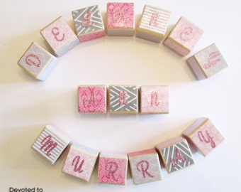 Seven Custom Wooden & Stackable Baby Gift Blocks // Pick Your Theme // Baby Wooden Blocks for Boy or Girl