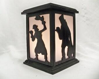 haunted mansion ghost wood lantern