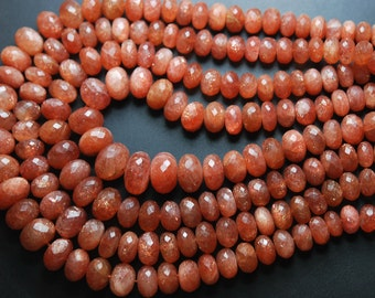 285 Carats, 20'' Long Strand , Very Finest Natural Sunstone Faceted LARGE RONDELLES, Size 11-7mm