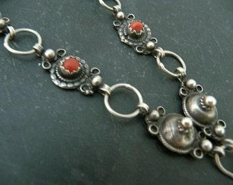 Old Kabyl Silver Tribal Necklace Mediterranean Coral Bib Necklace Vintage Jewelry
