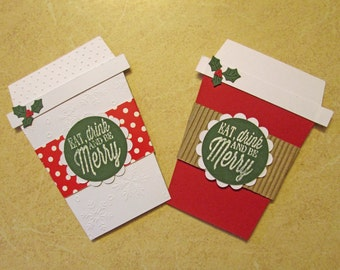 2 Christmas Gift Card Holders  - coffee cup gift card holders - Gift Card Envelope - Money Holders - Holiday Gift Card Holders