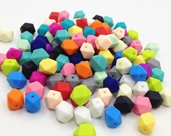 5-1,000 - Hexagon Geometric Silicone Beads - (17 mm)