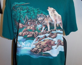 Vintage Habitat Stream Nature Wolf Wolves Pack Adult Wildlife Shirt Size XL Indian Echo Caverns