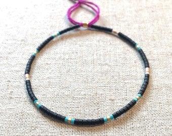 Fine Bead Bracelet, Black and Turquoise Seed Bead Stack Bracelet, Friendship Bracelet, Gift for her