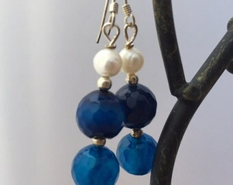 Blue agte and Pearl Earrings