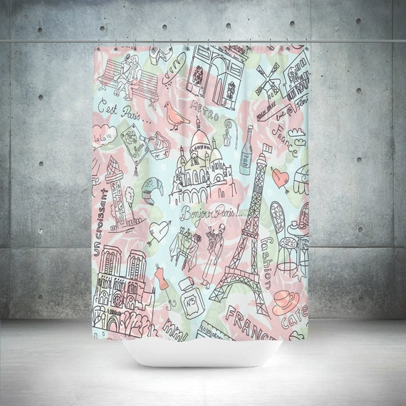 Paris Theme Shower Curtain Doodles Mint And Pink
