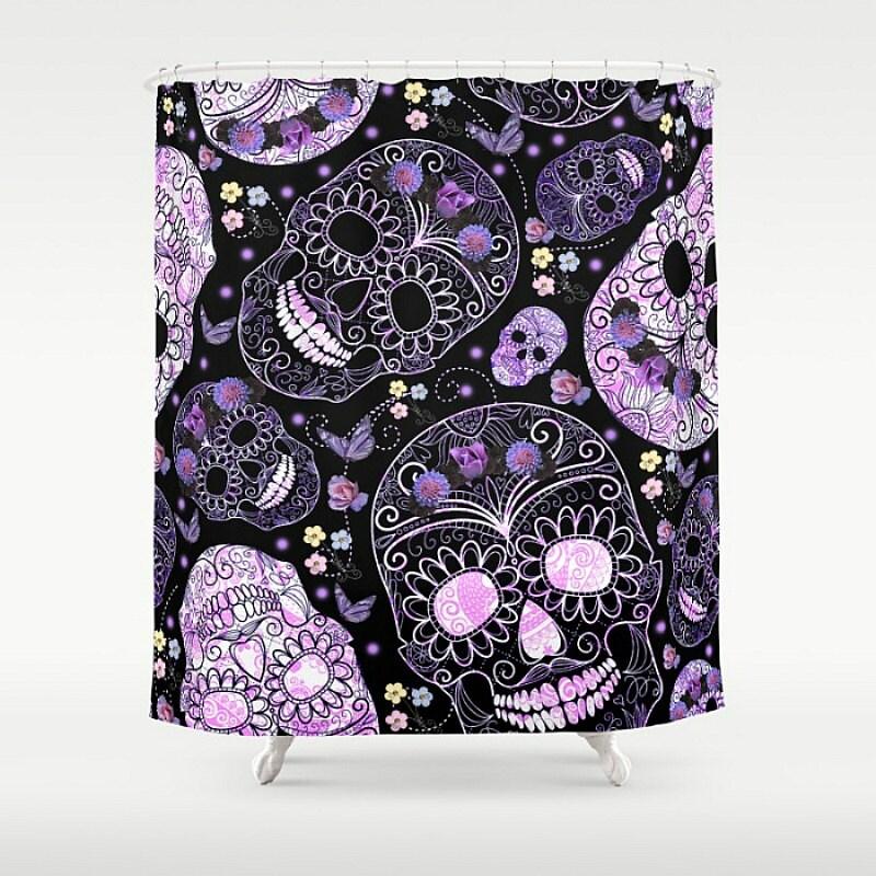 Skull Shower Curtain Black Purple Floral Sugar Skull